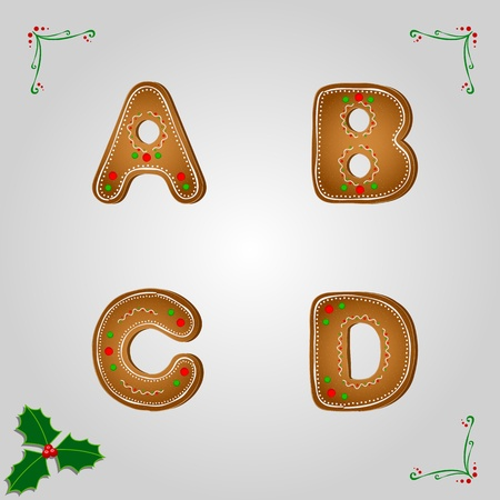 christmas cookie: Vector christmas gingerbread letters a to d