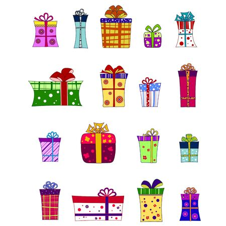 A set of colourful vector giftboxes Stock Vector - 19790222