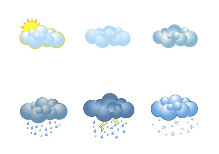 unsettled: A set of clouds illustrating different types of weather Illustration