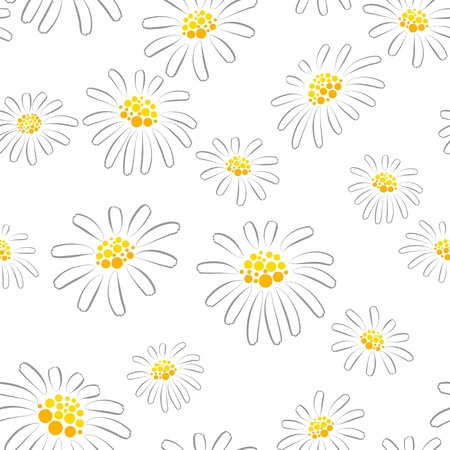oxeye: Seamless pattern with camomiles on white background Illustration
