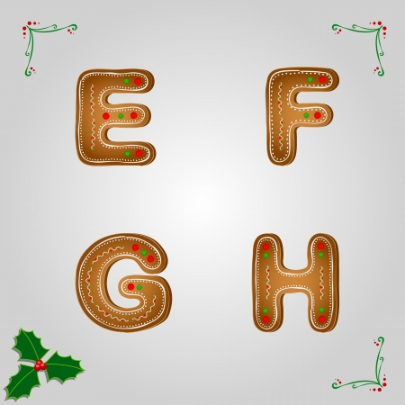 Christmas gingerbread letters from e to h Vector