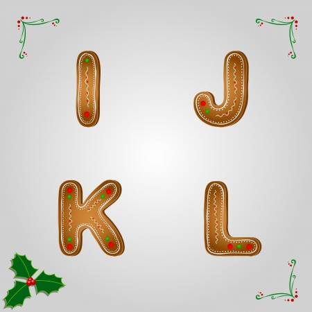 Christmas gingerbread letters from i to l Vector