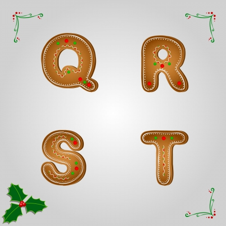Christmas gingerbread letters from q to t Vector