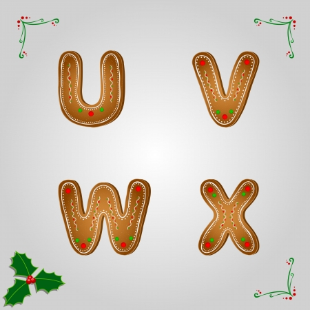 Christmas gingerbread letters from u to x Vector