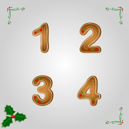 1 2 month: Christmas gingerbread numbers from 1 to 4