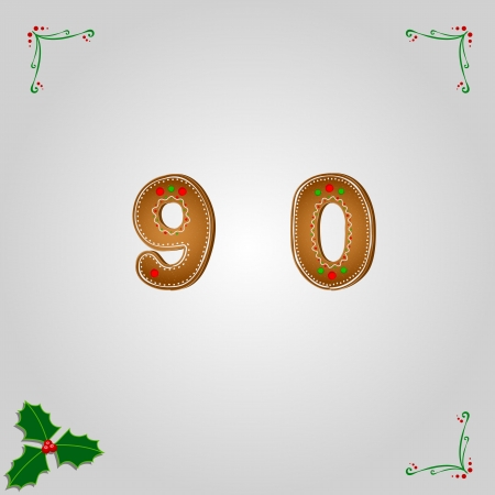 fancy pastry: Christmas gingerbread numbers 9 and 0 Illustration