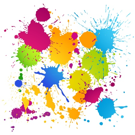 Vector ink blots of different colors on white background Stock Vector - 20914848