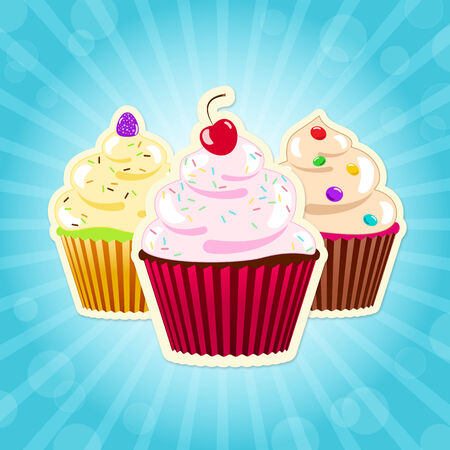 toppings: Three decorated cupcakes with colourful toppings on blue background illustration Stock Photo