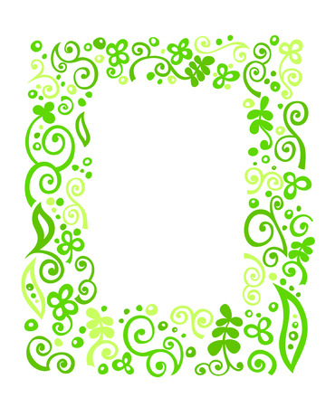 Green floral ornament frame on white background