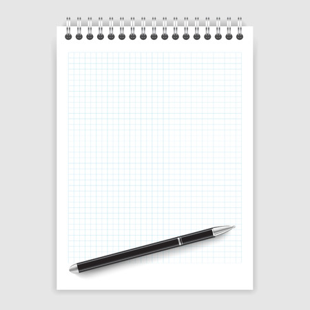 Realistic illustration of a ballpoint pen on a notepad in a cage Vector