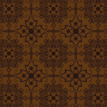 The Graphic Design Brown Florel Vintage Style Wallpaper Stock Photo - 14656677