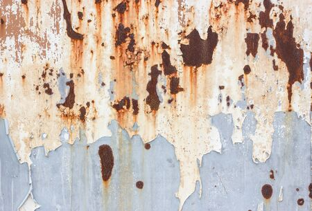 Peeled Rusty Grey Metal Wall Background, Old Metal Container House 写真素材
