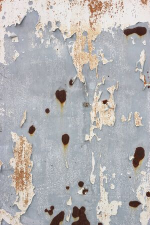 Peeled Rusty Grey Metal Wall Background with Vignette Style, Old Metal Container House 写真素材