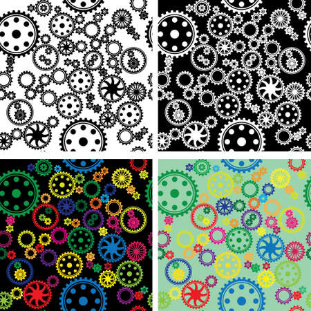 patterns of different types of gears  Vector
