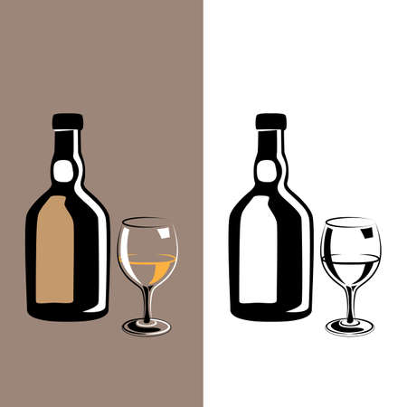 brandy: stylized wine glass and a bottle of brandy or cognac in two colors