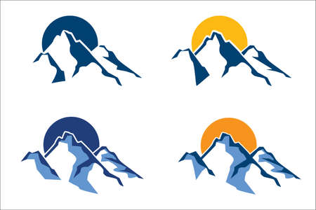 gestileerde bergtoppen op de achtergrond van de zon of de maan