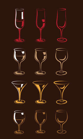 interpretation: set of stylized glasses for wine, champagne, whiskey, cognac, brandy, rum, and so forth in a few Interpretation, colorful