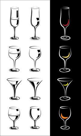 interpretation: set of stylized glasses for wine, champagne, whiskey, cognac, brandy, rum, and so forth in a few Interpretation Illustration