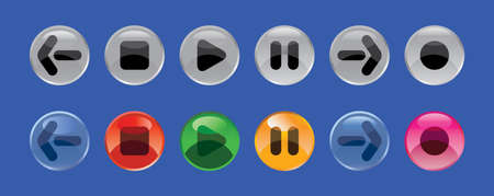 Set round color glass buttons Vector