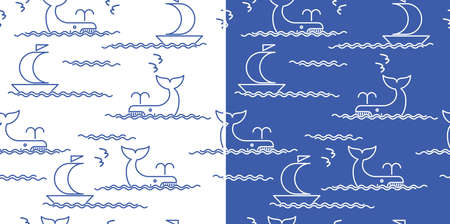 textil: Seamless composition on the theme of the sea, ships, waves, whales