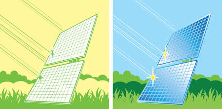 sources: solar panels in color, alternative energy sources Illustration