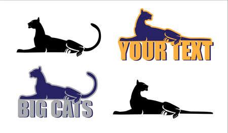 gegeneraliseerde collectieve beeld van de grote katten Stock Illustratie