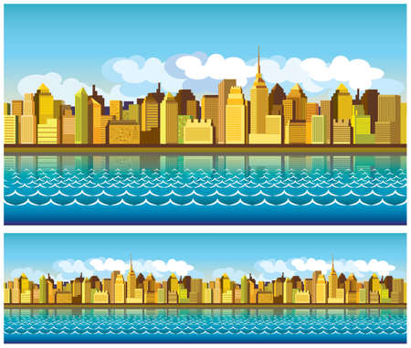 clouds scape: stylized seamless panorama of modern city