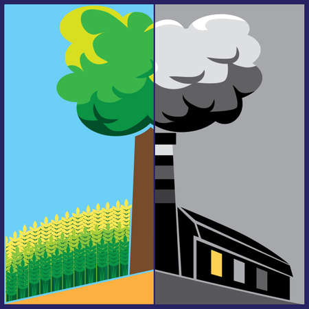 industrialization: composition on social issues of ecology and industrialization Illustration