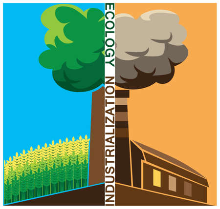 smoke stack: composition on social issues of ecology and industrialization Illustration