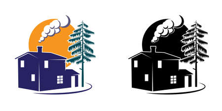 country house style: styled country house in minimalist style and several colors Illustration
