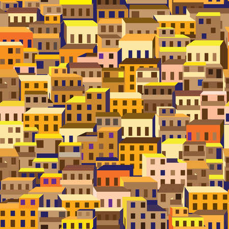 Seamless pattern with stylized city's old quarter, or favelas