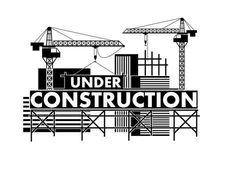 """variant van de samenstelling op het thema van """"under construction"""" zwart-wit"""
