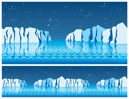 nights: seamless stylized illustration on the theme of the polar ice caps, the northern seas, north, polar nights