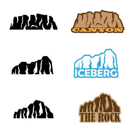 set van gestileerde afbeelding van de canyon, ijsberg, rotsen