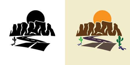 stylized illustration of the canyon road, cactus, against the setting sun Illustration