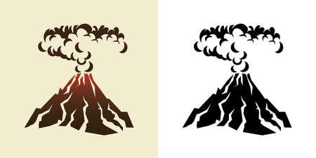 Illustration stylisée d'une éruption volcanique avec des nuages ??de fumée noire Banque d'images - 32146274