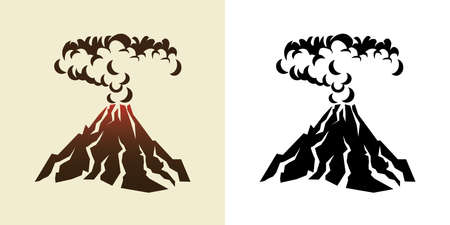 stylized illustration of a volcanic eruption with black clouds of smoke