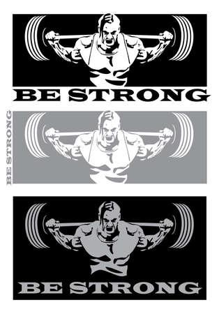 ilustración estilizada en el tema de la gente fuerte, poder, levantamiento de pesas, levantamiento de pesas y otros deportes relacionados con los pesos pesados