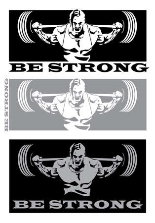 stylized illustration on the theme of strong people, power, weight lifting, Power lifting and other sports associated with heavy weights Ilustração