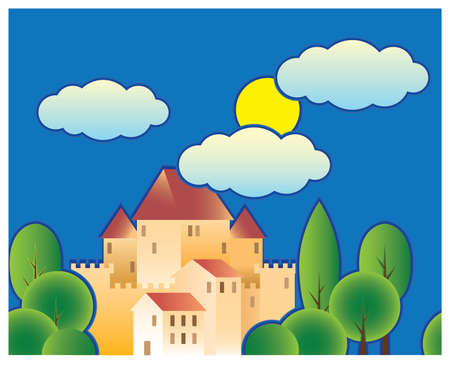 illustration of stylized fairy tale castle. the old town Vector