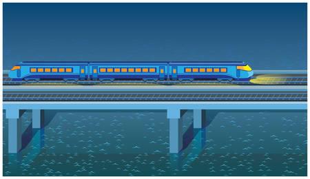 express train: senza soluzione di continuit� orizzontale figura stilizzata di una notte treno espresso correre attraverso il ponte