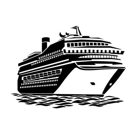 stylized illustration of a large cruise ship on the ocean waves