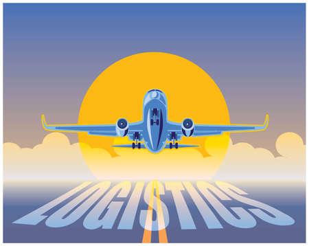 sol naciente: ejemplo estilizado en la logística y el transporte aéreo. avión de carga en los rayos del sol naciente llegando a tierra