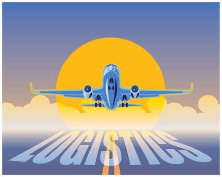 rising sun: stylized illustration on logistics and air transport. cargo plane in the rays of the rising sun coming in to land Illustration