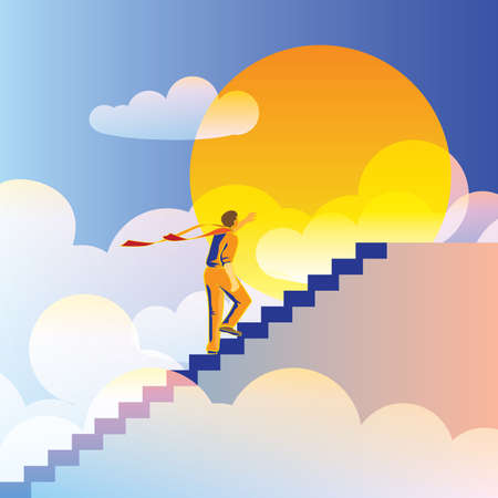 abstract, stylized vector composition stairway to heaven. on top of the world. Vector