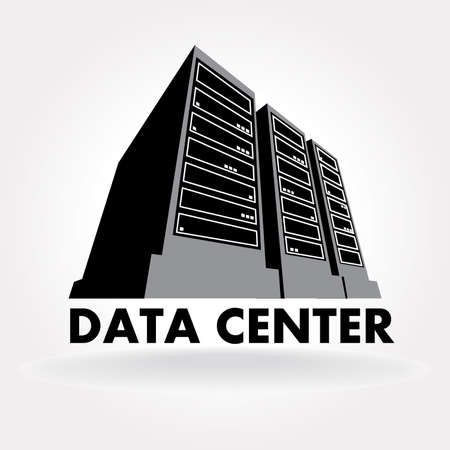 data center data centre: stylized illustration of a data center, a supercomputer, servers and other computing facilities