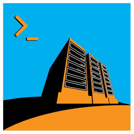 gestileerde afbeelding van een datacenter, een supercomputer, servers en andere computerfaciliteiten