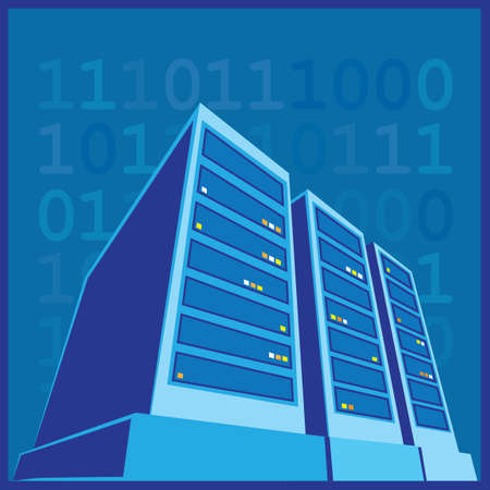 stylized illustration of a data center, a supercomputer, servers and other computing facilities