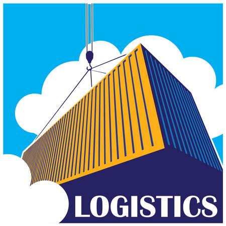 stylized illustration on logistics and freight transport.  Illustration