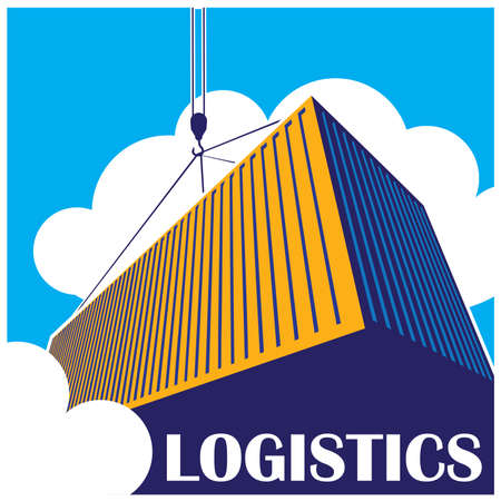 import trade: stylized illustration on logistics and freight transport.  Illustration